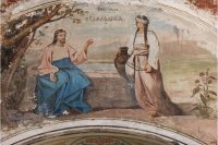 Христос и самарянка_фреска Никольского храма в Кутьино